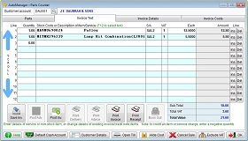 Screen shot showing AutoManager Parts Invoice