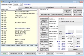 Screen shot showing AutoManager Parts Counter
