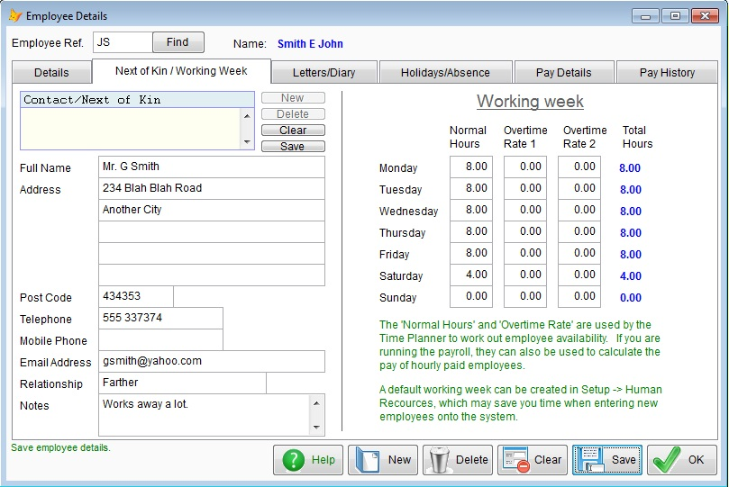 Screen shot showing employee holiday and absence
