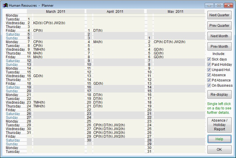 Screen shot showing employee holiday/absence planner