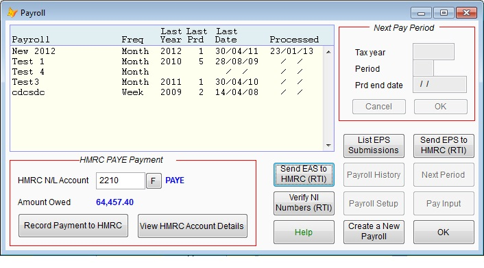Main payroll option